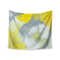 "CarolLynn Tice ""Make A Mess"" Yellow Gray Wall Tapestry"