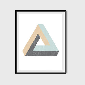 Impossible Triangle Poster, Wall Art, Digital Printable File, Instant Download