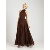 High neck with hand made flower embellishment chiffon bridesmaid dress
