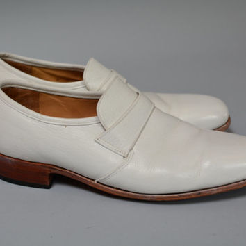 Vintage Dack's Loafer Shoes -  Retro White Men's  Slip On Shoes Size 8