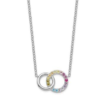 Sterling Silver Colorful Rainbow CZ Intertwined Circle Necklace