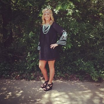 Embroidered Bell Sleeve Tunic Dress - Black