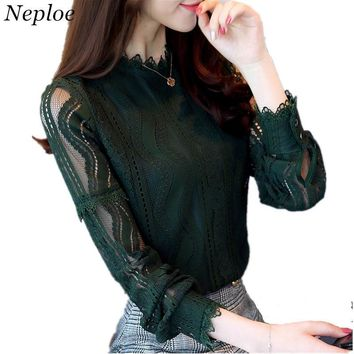 Neploe Blusas Lace Blouses Hollow Out Shirts Women OL Shirt Top Long Sleeve Half Turtleneck Shirts Office Blouse Plus Size 34011