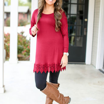 Beautiful Life Tunic -  Burgundy