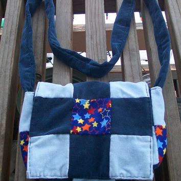 Blues Stars Patchwork Recycled Corduroy Crossbody Purse Ready to Ship