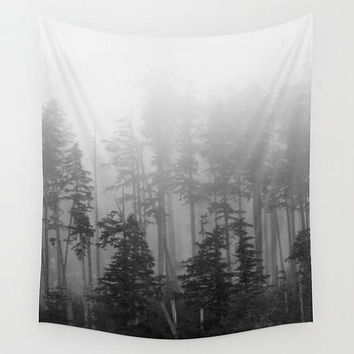 Fog forest woods trees landscape photography tapestry, Washington, Chinook, grey, foggy, trees, timber, outdoors, nautre, large art, cloth
