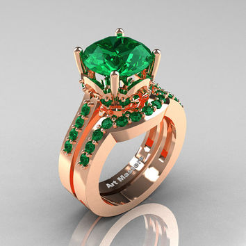 Classic 14K Rose Gold 3.0 Carat Emerald Solitaire Wedding Ring Set R301S-14KRGEM