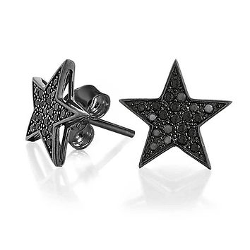 Simple Patriotic Star Cubic Zirconia Micropave CZ Stud Earrings