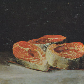 "Vintage Swiss Postcard -- Francisco Goya ""Still Life with Slices of Salmon"" -- 1980s"
