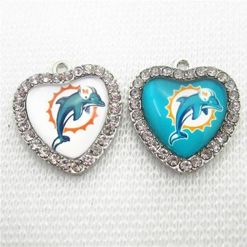 Crystal Heart 10pcs Miami Dolphins Dangle Charm American Football Sport Charms Diy Jewelry Accessory Hanging Floating Charms