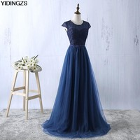 YIDINGZS Navy Blue Prom Dress 2017 New Arrive Lace Tulle A-line Formal Long Evening Party Dress