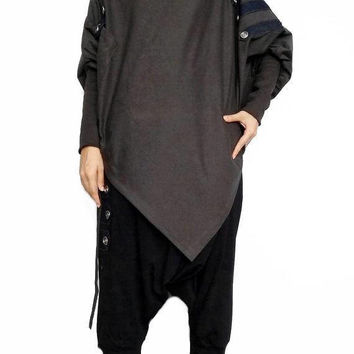 Asymmetrical Tunic Poncho Long Sleeve,EMO Punk Sweater Top, Gray Cotton Blend (PH-04)