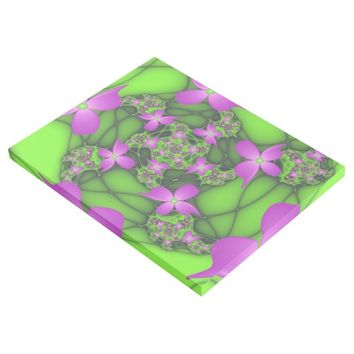 Modern Abstract Neon Pink Green Fractal Flowers Gallery Wrap