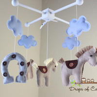 Baby Mobile - Baby Crib Mobile - Nursery Cowboy Decor - Horses Mobile - Boy Nursery - Kids Room - Horseshoe Horse Clouds - Pick your colors