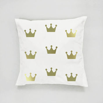 Crown Pattern Pillow, Gold Crown Pillow, Home Decor, Cushion Cover, Throw Pillow, Bedroom Decor, Gold Nursery Decor, Bed Pillow, Gold Pillow