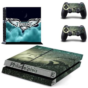 Philadelphia Eagles PS4 Skin Sticker Decal For Sony PlayStation 4 Console and 2 Controllers PS4 Skins Stickers Vinyl