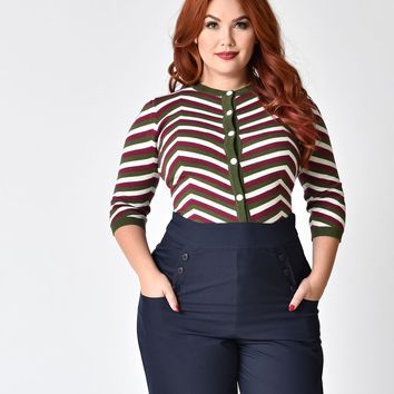 Collectif Plus Size Red & Green Chevron Holly Cardigan