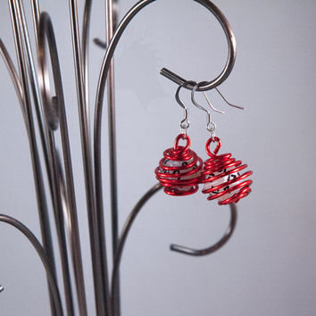 Wire Wrapped D20 Earrings - Red and White Geek Jewelry