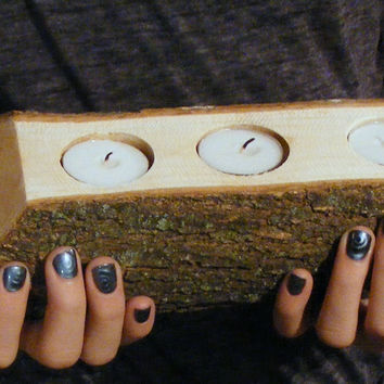 Rustic Log Candle Holder - Rustic Decor
