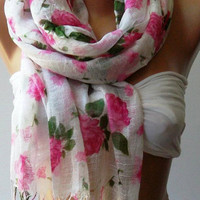 Pink Flowers Silky Touch Elegance Shawl / Scarf by womann