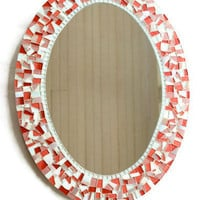 Pink Mosaic Mirror, Oval