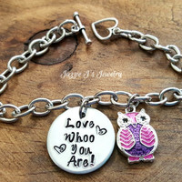 Love Whoo You Are with Owl Charm Stainless Steel Bracelet, Owl Jewelry, Whoo Loves You Bracelet, Gift for Her, Inspirational Gift