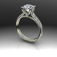 AMORA Gem Ultra H&A Round and Diamond Engagement Ring 2.15 CTW