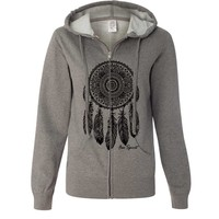 Native American Dreamcatcher Free Spirit Black Ladies Zip-Up Hoodie