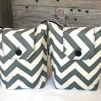 Chevron Gift Bags Reusable Charcoal Gray White Black Modern (Set of 2) Gift Wrap Alternative Hostess --US Shipping Included