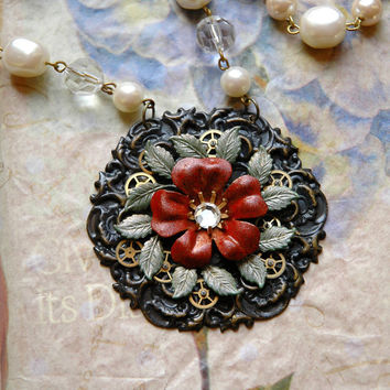 Steampunk Flower Necklace Bavarian Rose in Red by bionicunicorn
