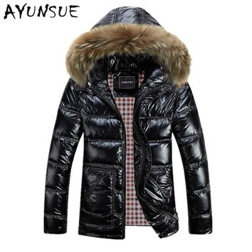 Winter Jacket Men Down Jacket 2017 White Duck Down Thick Coat Hood Natural Pure Fur Collar Plus Size 6XL Windproof Parka HJ271