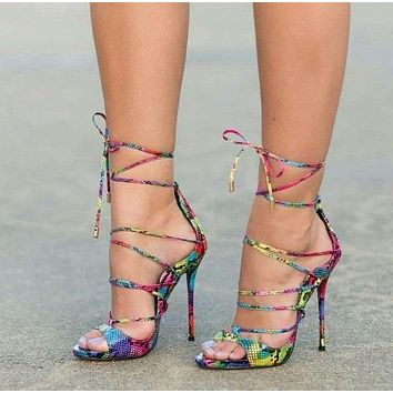 Women Multi-Color Snakeskin Lace-Up Peep Toe High Heels Pumps
