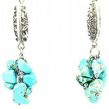 Turquoise & Silver Drop Earring