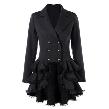 Adult Women's Tuxedo Gothic Tailcoat Jacket Medieval Steampunk Victorian Black Coat Wedding Uniform