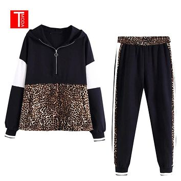 2019 Spring New Arrival Women 2 Pieces Set Leopard Spliced Sweatshirt Hooded Harm Pant Women Tracksuits Hoodies Jogging Outfiits
