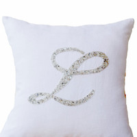 Decorative pillow-  Customized monogram pillow -Silver Sequin Monogram Throw pillows - white linen pillow cover -16X16 gift -Cursive Initial