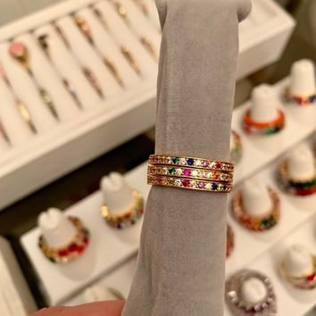Rainbow Stacking Band | Rainbow Ring | Multicolor Eternity Band