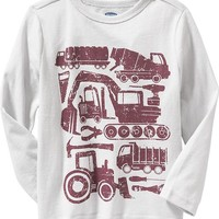 "Old Navy Long Sleeve ""Construction"" Tees For Baby"