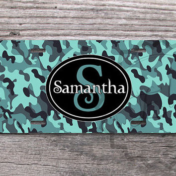 Customized License Plate - Personalized Camouflage Damask front license plate, monogrammed car tag, auto accessory - 344