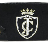 Juicy Couture Velour Zip Around Clutch Wallet, Black