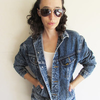 Vintage 80s 90s Lee Grunge Rocker Stone Wash Denim Jean Jacket