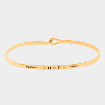 """Love"" Arrow Skinny Mantra Cuff Bracelet"