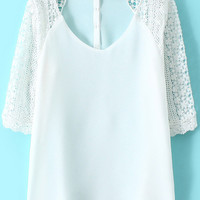 White V Neck Lace Half Sleeve Blouse