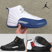Nike Air Jordan 12 Retro Basketball Shoes Men 2016 Sneakers Good Quality Original Discount French Blue Men's Sports Shoes Free Shipping 8-13