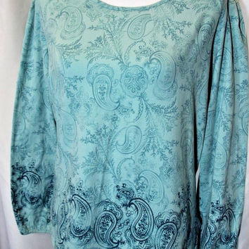 Columbia Womens Sz M XCO Teal Paisley Long Sleeve Cotton Shirt Top
