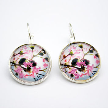 Flower Lever Back Earrings, Pink Photo Jewelry, Silver Tone
