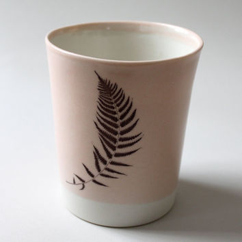 pale dusty pink tumbler with autumn leaf by gleenashop on Etsy