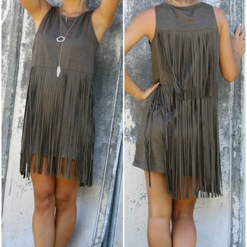 Shades of Suede Olive Sleeveless Suede Dress With Layered Fringe