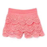 Coral Crochet Shorts - Infant, Toddler & Girls
