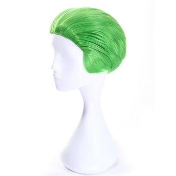 Soowee Short Straight Synthetic Hair Wig High Temperature Heat Resistance Fiber Hair Party Hair Green Cosplay Wigs for Men
